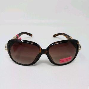 Betsey Johnson Tortoise Rhinestone Sunglasses